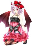 1girl alternate_costume bat_wings black_legwear hair_ribbon lavender_hair looking_at_viewer pantyhose red_eyes remilia_scarlet ribbon short_hair simple_background solo touhou white_background wings yutazou