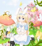 1girl absurdres alice_(wonderland) alice_in_wonderland animal_ears blonde_hair blue_eyes highres long_hair plhsxf rabbit rabbit_ears white_rabbit