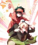 2boys apron ashiya_shirou black_hair blonde_hair carrying ebony_nightmare grin hataraku_maou-sama! ladle maou_sadao multiple_boys orange_eyes pants part_time_job shoes shoulder_carry smile v visor_cap wink yellow_eyes