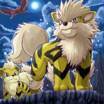 alternate_color arcanine clouds fangs fearow growlithe moon night no_humans pokemon shiny_pokemon sky standing