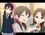 :d ^_^ black_hair blazer brown_eyes brown_hair closed_eyes eating extra food glasses hair_ornament hatasuke head_tilt ice_cream k-on! kimura_fumie long_hair low_twintails miura_kazuko open_mouth pleated_skirt school_uniform skirt smile spoon sundae twintails v