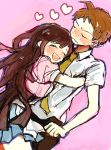 1boy 1girl ahoge apron bandages brown_hair dangan_ronpa hinata_hajime hug nurse open_mouth purple_hair short_hair super_dangan_ronpa_2 tsumiki_mikan