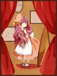 1girl alternate_costume border crescent curtains dress hair_ribbon hat lelut long_hair patchouli_knowledge purple_hair ribbon solo touhou violet_eyes wrist_cuffs
