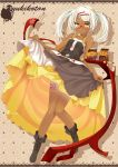 1girl coffee dark_skin dress dress_lift glasses highres looking_at_viewer ogami_kazuki smile solo table tattoo white_hair yellow_eyes yukijirushi yukiko-tan