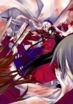2girls absurdres adapted_costume black_hair blood bow_(weapon) braid dress hair_over_one_eye hat highres hime_cut houraisan_kaguya japanese_clothes long_hair multiple_girls nurse_cap red_eyes silver_hair sword touhou very_long_hair weapon yagokoro_eirin yellow_eyes yps