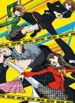 2boys 2girls amagi_yukiko bike_shorts black_hair brown_hair caution_tape dual_wielding fan folding_fan gakuran hairband headphones houndstooth katana keep_out kunai long_hair multiple_boys multiple_girls narukami_yuu persona persona_4 police_tape satonaka_chie school_uniform short_hair shorts_under_skirt silver_hair small_breasts socks suta_furachina sword track_jacket weapon