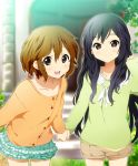 2girls :d alternate_hairstyle black_hair blush brown_eyes brown_hair casual hair_down hatasuke hirasawa_yui holding_hands k-on! leaning_forward long_hair looking_at_viewer multiple_girls nakano_azusa open_mouth shorts skirt smile