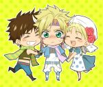 2boys apron blonde_hair blue_jacket blush brown_hair caesar_anthonio_zeppeli chibi danemaru dress facial_mark feathers green_eyes head_scarf jacket jojo_no_kimyou_na_bouken joseph_joestar_(young) multiple_boys scarf suzi_quatro