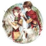 1boy 1girl ayda belt braid brown_hair feather_(suikoden) gensou_suikoden gensou_suikoden_ii griffin hair_over_shoulder headband highres kinnison long_hair potassium77 scarf shiro_(suikoden) skirt title_drop tribal wolf yellow_eyes