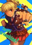 2boys 4girls androgynous asmodeus black_hair blonde_hair brown_hair chibi clenched_hand english furutachirikonbu grey_eyes grin hat kanon_(umineko) maid multiple_boys multiple_girls necktie ponytail shannon smile star twintails umineko_no_naku_koro_ni ushiromiya_jessica ushiromiya_krauss ushiromiya_lion ushiromiya_natsuhi wink