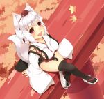 1_mutsuki 1girl :d animal_ears autumn_leaves black_legwear blush breasts fang hat inubashiri_momiji kourindou_tengu_costume large_breasts leaf looking_at_viewer maple_leaf open_mouth red_eyes sandals short_hair sitting smile solo tail thigh-highs tokin_hat torii touhou white_hair wolf_ears wolf_tail