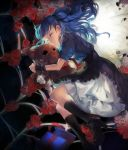 1girl black_legwear black_shoes blouse blue_hair closed_eyes hair_ribbon hug kneehighs long_hair lying on_side original ribbon rifsom skirt sleeping solo spider_web stuffed_animal stuffed_toy tears teddy_bear twintails wrist_cuffs