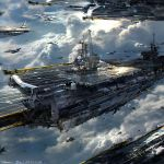 2013 aircraft_carrier airplane artist_name clouds condensation_trail dated f-15 f-18 fighter_jet highres jet johnson_ting mig-31 original signature sky sunlight