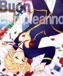1boy blonde_hair blue_eyes braid gift giorno_giovanna happy_birthday italian jojo_no_kimyou_na_bouken ladybug lipstick makeup moichobi solo