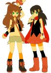 2girls hikari_(pokemon) multiple_girls oekaki pokemon pokemon_(game) pokemon_bw pokemon_dppt ponytail pu_(oekaki) touko_(pokemon)