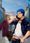 2boys archer asaiyui blue_hair casual dark_skin earrings fate/stay_night fate_(series) gun jewelry lancer long_hair multiple_boys ponytail red_eyes weapon white_hair