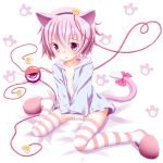 1girl animal_ears cat_ears cat_yaxi choko_(mixberry_parfait) eyebrows hairband heart heart-shaped_pupils heart_of_string highres kemonomimi_mode komeiji_satori open_mouth pink_eyes pink_hair ribbon sitting slippers solo striped striped_legwear symbol-shaped_pupils tail tail_ribbon thigh-highs touhou wariza