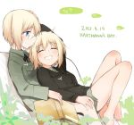 2girls barefoot blonde_hair blue_eyes blush book erica_hartmann glasses heart military military_uniform multiple_girls sandwich_(artist) short_hair siblings sisters sitting sitting_on_lap sitting_on_person smile strike_witches twins uniform ursula_hartmann