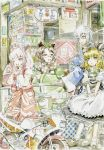 1boy 3girls :o ahoge animal_ears apron ashtray blonde_hair blue_hair bobby_socks boots bow braid brown_hair choker cigarette fujiwara_no_mokou futatsuiwa_mamizou glasses gloves hair_bow hand_in_pocket hand_on_another's_head highres jacket japanese_clothes kiosk kirisame_marisa leaf leaf_on_head long_hair long_sleeves looking_up mary_janes master_(4th) morichika_rinnosuke motor_vehicle motorcycle multiple_girls no_hat no_headwear ofuda open_mouth pants phone pince-nez pink_hair raccoon_ears raccoon_tail red_eyes scarf semi-rimless_glasses shelf shoes short_sleeves sign single_braid skirt skirt_set socks tail touhou under-rim_glasses vehicle waist_apron wink yellow_eyes