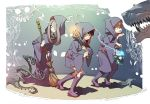 3girls akko_kagari boots broom fantasy hood knee_boots lantern little_witch_academia lotte_yanson multiple_girls official_art robe sucy_manbabalan trigger_(company) wand