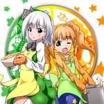 2girls apron blue_eyes brown_hair crossover fueiku green_eyes hairband idolmaster konpaku_youmu multiple_girls oven_mitts short_hair smile star takatsuki_yayoi touhou twintails white_hair wink