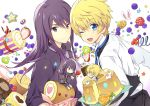2boys baumkuchen blonde_hair blue_eyes blueberry candy chibi chocolate cookie dual_persona flynn_scifo food fruit kiwifruit lollipop long_hair male motoko_(ambiy) multiple_boys necktie orange purple_hair raspberry ribbon shirt smile strawberry swiss_roll tales_of_(series) tales_of_vesperia violet_eyes white_background wink yuri_lowell
