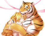 1boy 1girl blonde_hair closed_eyes hair_ribbon hug muscle original ponytail ribbon short_hair skirt smile teru_suzu tiger
