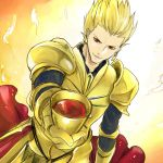 1boy armor blonde_hair earrings fate/zero fate_(series) gilgamesh goblet jewelry momopan_(artist) red_eyes solo wine