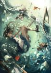 1girl alice_(wonderland) alice_in_wonderland apron blue_eyes brown_hair bubble card dress fish highres long_hair mad_hatter ooi_choon_liang rabbit thigh-highs underwater white_rabbit