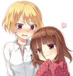 2girls blonde_hair blush brown_eyes brown_hair hariu_eri heart japanese_clothes kimono mihirogi_uta multiple_girls reimin saki saki_achiga-hen short_hair smile