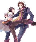 2boys alvin_(tales_of_xillia) black_hair brown_eyes brown_hair clenched_teeth facial_hair ishiwari jacket jude_mathis kicking male multiple_boys necktie pants shoes stubble sweat tales_of_(series) tales_of_xillia tales_of_xillia_2 white_background