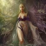 1girl bare_shoulders blonde_hair blue_eyes breasts cleavage dress forest hins lips long_hair long_sleeves nature original solo standing tree water wet