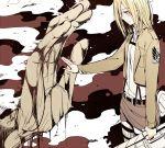 belt blonde_hair blood blush christa_renz doudoude_dou giant jacket long_hair shingeki_no_kyojin spoilers sword tears thigh_strap weapon ymir_(shingeki_no_kyojin)