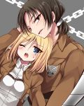 2girls annoyed black_eyes black_hair blonde_hair blue_eyes buckle chain christa_renz freckles hoshihuri jacket multiple_girls ponytail shingeki_no_kyojin short_hair simple_background uniform wince ymir_(shingeki_no_kyojin)