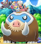 1girl all_fours ambipom blue_eyes blue_hair buneary croagunk fangs gliscor hikari_(pokemon) looking_up mamoswine mountain open_mouth outdoors pachirisu pikachu piplup pokemoa pokemon pokemon_(anime) pokemon_(creature) scarf sky smile tree yellow_sclera