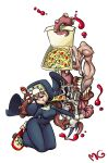 blonde_hair breasts closed_eyes cross cross_necklace double_(skullgirls) eating extra_arms extra_eyes extra_mouth food habit highres inverted_cross mario_grant monster nun pizza short_hair skateboard skullgirls