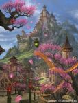 castle cherry_blossoms highres lantern mountain petals scenery stairs tenkuu_no_crystalia ucchiey water waterfall