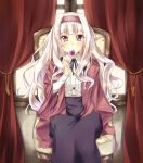 1girl candy chair curtains dress hairband idolmaster jiino lollipop long_hair pink_eyes shijou_takane silver_hair sitting solo window