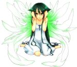 1girl colored kuroneko13x long_hair looking_at_viewer saya saya_no_uta simple_background solo tears very_long_hair white_background