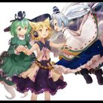 3girls blonde_hair blush bracelet dress efe ghost_tail green_dress green_eyes green_hair grey_eyes grey_eyes hat hat_ribbon headphones holding_hands jewelry letterboxed long_sleeves mononobe_no_futo multiple_girls multiple_tails open_mouth ponytail profile ribbon short_hair silver_hair simple_background smile soga_no_tojiko sword tail tate_eboshi touhou toyosatomimi_no_miko weapon white_background wide_sleeves yellow_eyes