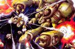 battle choujikuu_yousai_macross damaged gerwalk guardian itano_circus macross mecha meltrandi millia_jenius missile miyao_gaku official_art oldschool power_armor power_suit production_art queadluun-rau science_fiction space star the_super_dimension_fortress_macross valkyrie vf-1 vf-1_super vf-1a zentradi