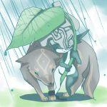 chains helmet imp imp_midna inumimi_moeta leaf_umbrella link link_(wolf) lowres midna nintendo pointy_ears rain the_legend_of_zelda twilight_princess wolf wolf_link