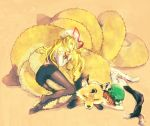animal animal_ears ass bad_id blonde_hair bloomers brown_hair cat_ears chen earrings elbow_gloves feet fox fox_tail gloves hat jewelry legs long_hair multiple_girls multiple_tails panties panties_under_pantyhose pantyhose shippo_(skink) short_hair side-tie_panties skink sleeping socks tail tail_hug thighs touhou underwear white_gloves yakumo_ran yakumo_ran_(fox) yakumo_yukari