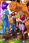 boxing_gloves charizard clenched_hand gengar golduck hand_on_hip hat highres hitmonchan holding holding_poke_ball manly nintendo pikachu poke_ball pokemon pokemon_(game) red_(pokemon) red_(pokemon)_(classic) satoshi_(pokemon) skinny_jeans snika