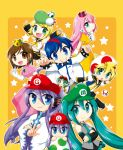 3boys 5girls aqua_hair atora bad_id belt blonde_hair blue_eyes blue_hair bowser bowser_(cosplay) brown_eyes brown_hair chibi cosplay costume crop_top crossed_arms crown cute detached_sleeves earrings egg elbow_gloves everyone fairy family flower gloves green_eyes green_hair grin gumi hair_flower hair_ornament hat hatsune_miku jewelry kagamine_len kagamine_rin kaito kamui_gakupo long_hair luigi luigi_(cosplay) mario mario_(cosplay) megurine_luka meiko midriff minigirl mushroom necktie parody pink_hair pointy_ears princess_daisy princess_daisy_(cosplay) princess_peach princess_peach_(cosplay) purple_hair school_uniform serafuku shorts smile star sunglasses super_mario_bros. toad toad_(cosplay) twintails v very_long_hair vocaloid wanda_(super_mario_bros.) wanda_(super_mario_bros.)_(cosplay) waving wings yoshi yoshi_(cosplay)