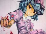 >:) >:d :d blood blue_hair byoin clenched_hand dress evil_grin evil_smile foreshortening grin hands hat head_tilt looking_at_viewer open_mouth pink_dress puffy_sleeves red_eyes remilia_scarlet short_hair smile solo touhou traditional_media