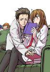blush book brown_hair g-tetsu glasses hat labcoat makise_kurisu necktie okabe_rintarou pantyhose steins;gate