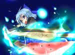 advent_cirno blue_hair byoin cirno purple_eyes short_hair solo sword touhou violet_eyes watermelon weapon