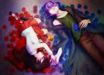 1boy 1girl blue_rose candy closed_eyes flower garry_(ib) ib ib_(ib) lying red_rose rose sora_k yellow_rose