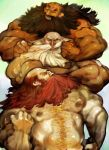3boys beard chest_hair dragon's_crown dwarf_(dragon's_crown) facial_hair kamitani_jouji multiple_boys multiple_persona muscle